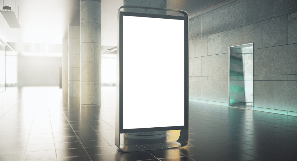 Blank advertising stand in grunge interior with daylight. Mock up, 3D Rendering